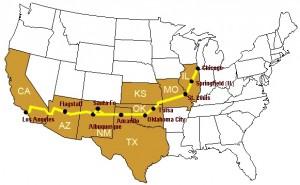 Mapa de la Route 66